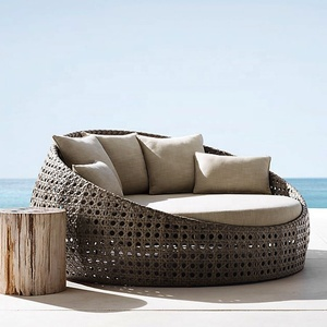 Outdoor Rattan Furniture Sunbed Canopy Bed Round Sun Lounger Terrace Day Bed Ratan Outdoor Lounge Chaise Transat Jardin