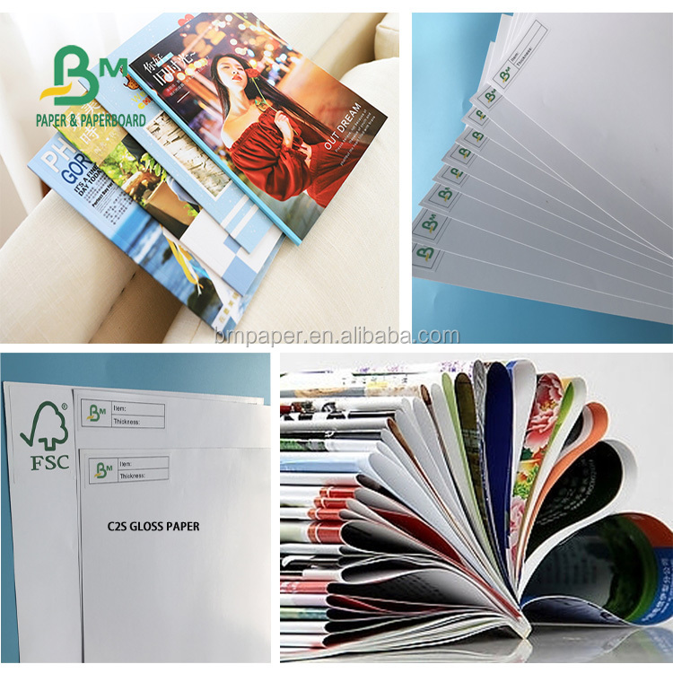 Whiteness virgin wood pulp sheet or roll Gloss paper for magazine