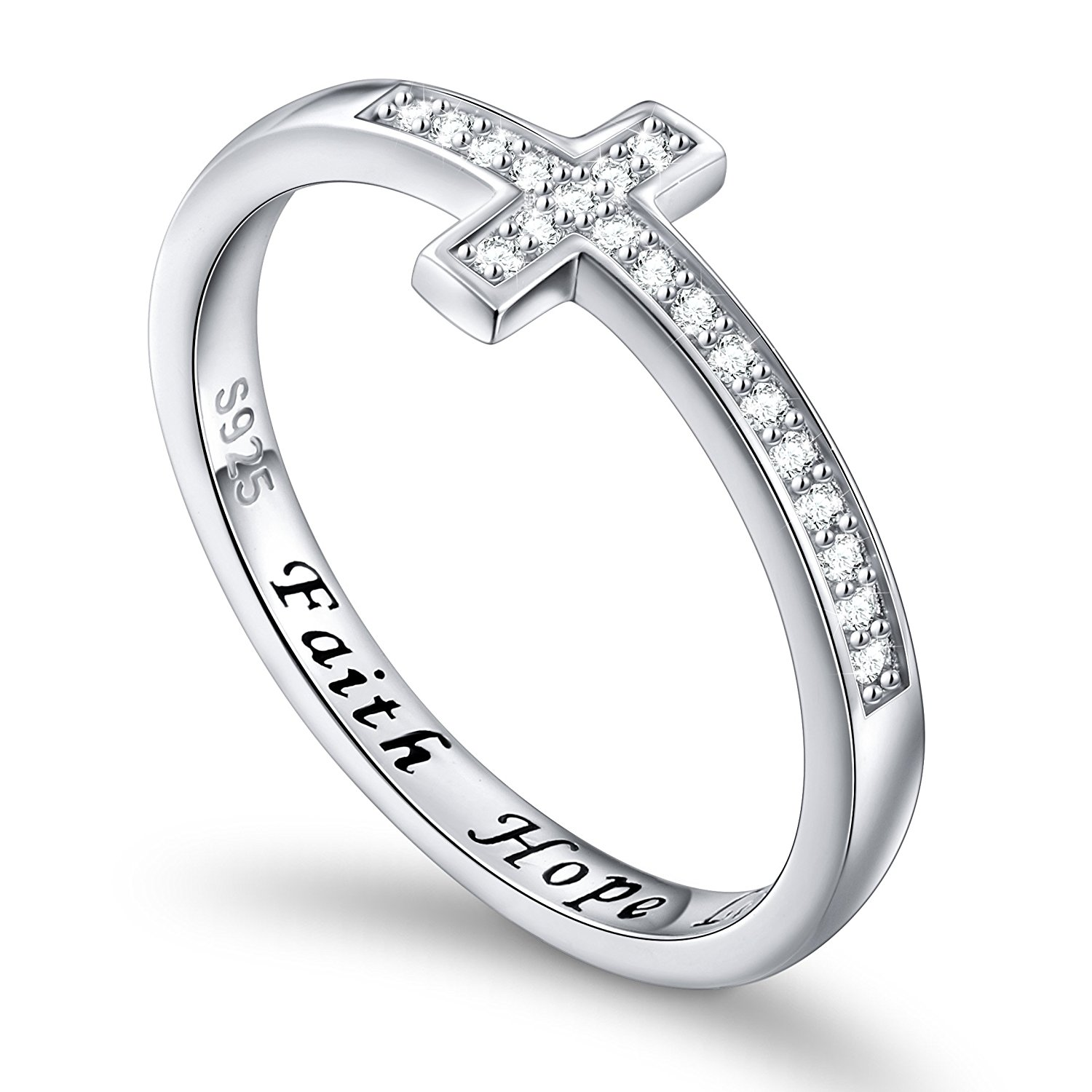 DAOCHONG Inspirational Jewelry Sterling Silver Engraved Faith Hope Love Sideway Cross Ring, Size 5-10