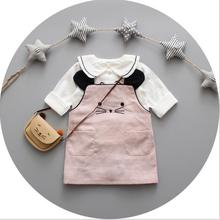 CB10087 high fashion children linen cotton blouses and skirt