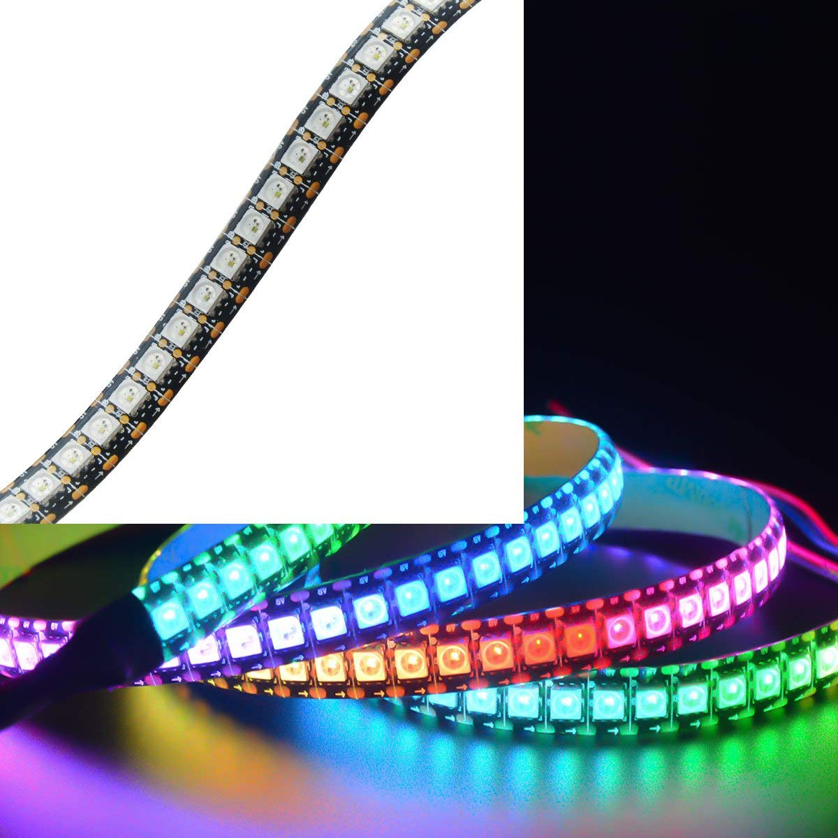 Mokungit WS2813 LED Strip WS2813(Upgraded WS2812B) Dual Signal Wires Individually Addressable Dream Color 5050 RGB Flexible Strip Light 3.2ft 144 LEDs Black PCB Waterproof IP65 DC5V