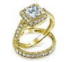 18k Gold Plated Engagement and Wedding Ring Set