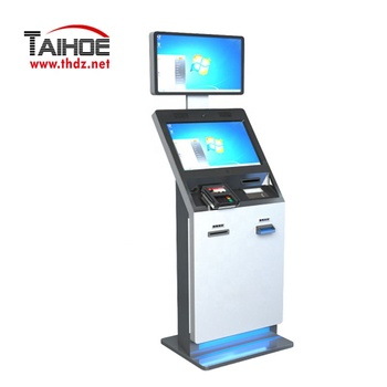Hotel Check In Advertising dual Touch Screen self service payment kiosk with Passport Scanner and Card Dispenser