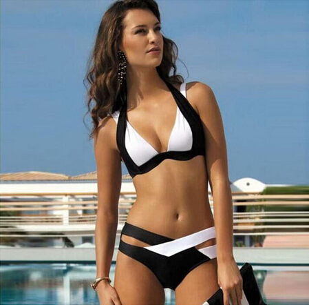 Bonvatt Black And White Split Sexy Biquini Bikini Push Up Large Women Swimwear Brazilian Bikini plus size Swimsuit bathing