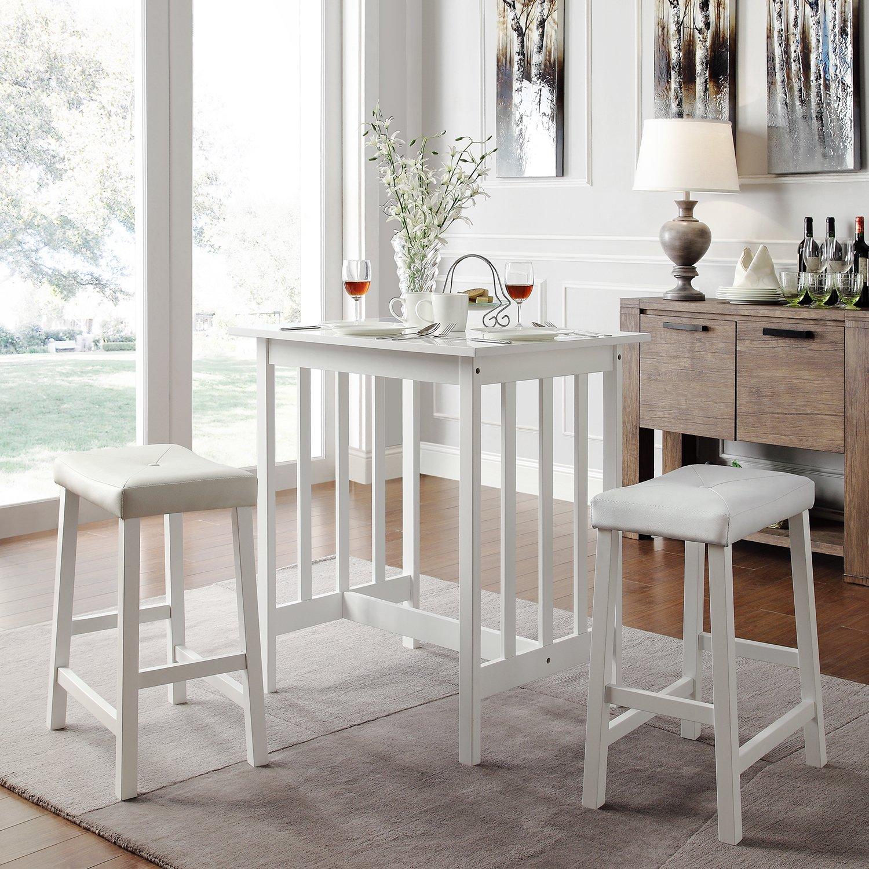 Metro Shop TRIBECCA HOME Nova White 3-piece Kitchen Counter Height Dining Set