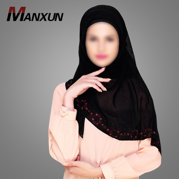 Islamic Clothing High Quality Women Red Stone Border Stole Hijab Dubai Niqab Turkish Style Scarf