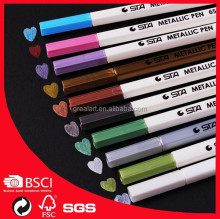 STA6551 mini hexagon indelible metallic colored paint marker pen