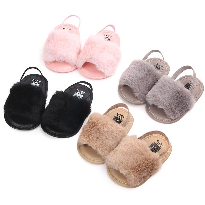 3a959d73c4f17 Été Bébé Mocassins Chaussures Pantoufles Nouveau-né Bébé Filles En Peluche  Doux Sandales à Semelle