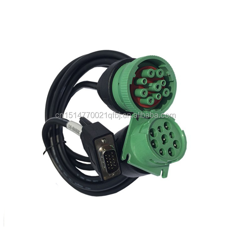 J1939 Detusch 9Pin Male to Female Green Connector TO D-Sub 15Pin Extension Cable Splitter Cable