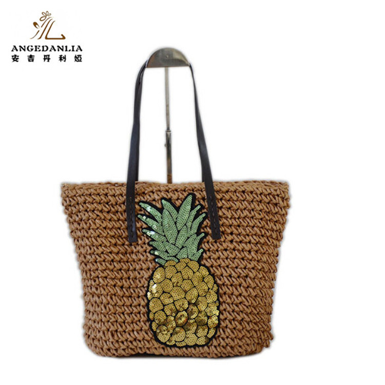 2018 summer new design beach paper straw handbag with bling bling sticker