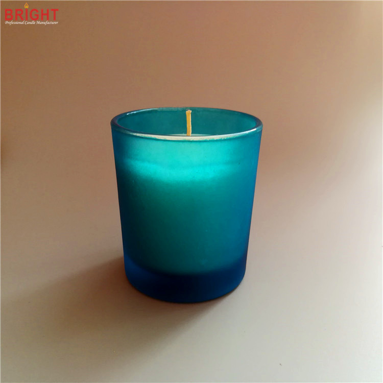 Scented natural cheap soy wax candle in blue rustic glass jar