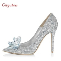 New designs Bridal Shoes Women Pumps Crystal Shiny Rhinestones Wedding Shoes