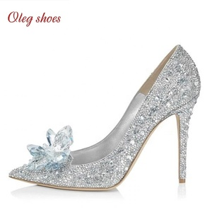 New designs Bridal Shoes Women Pumps Crystal Shiny Rhinestones Wedding Shoe swomen dress shoes