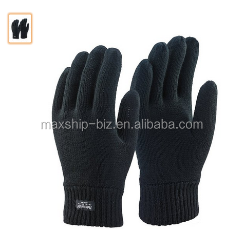Mens 3m Black Thinsulate Thermal Lined acrylic knit Winter glove