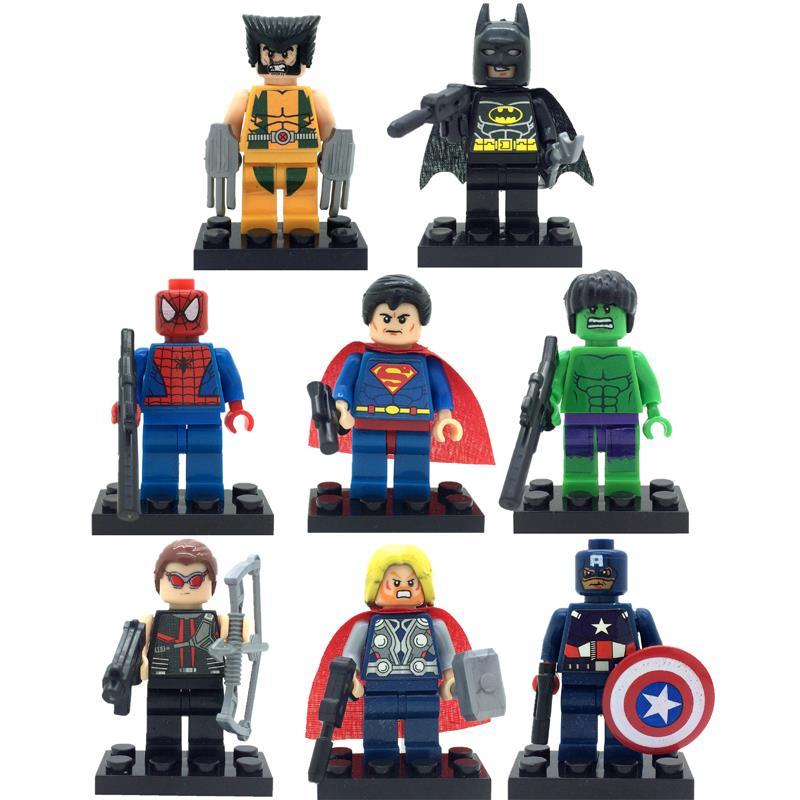 8pcs lot Super Hero Superheroes Kid Baby Toy Mini Figure Building Blocks Sets Model Toys Minifigures