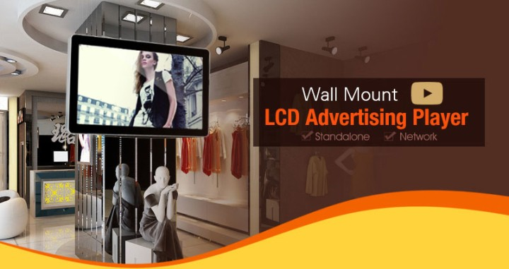 Wall Mounted Digital Signage Player, Full HD LCD Advertising Screen
