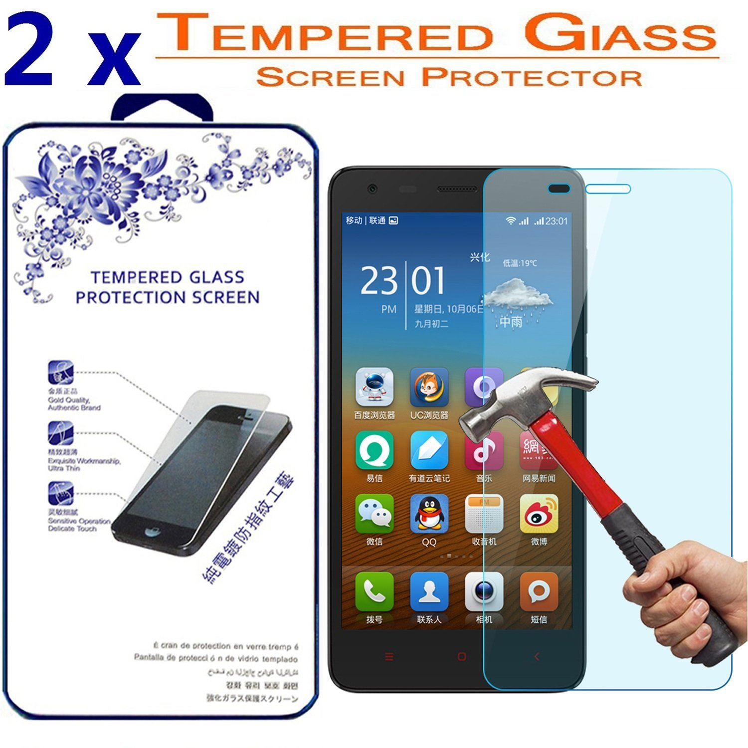 [2-Pack] For Xiaomi Redmi 2 Tempered Glass, Nacodex Premium Tempered Glass Screen Protector 9H Hardness Bubble Free 0.26mm (For Xiaomi Redmi 2)