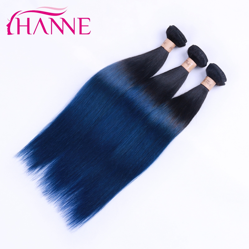 8A Top Quality Ombre Blue Color Human Hair Extensions Peruvian Virgin Straight Hair Bundles 100g 10-26 Inches Hair <strong>Weave</strong>