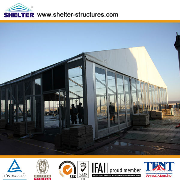 25x25m 400 people a shape aluminum cheap marquee clear luxury wedding tent with purple lining and lighting decoration