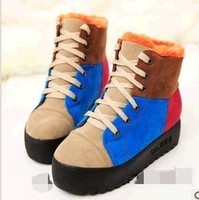 C60203A 2013 THE NEWEST DESIGN POPULAR EUROPEAN FASHION THICK COLOR SPLICING WARM PLATFORM ANKLE BOOTS