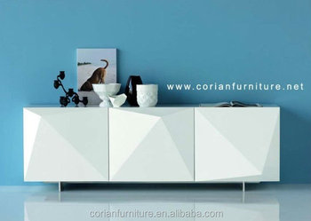 Beau Modern Design Acrylic Solid Surface Covered Corian Side Free Standing  Sideboard
