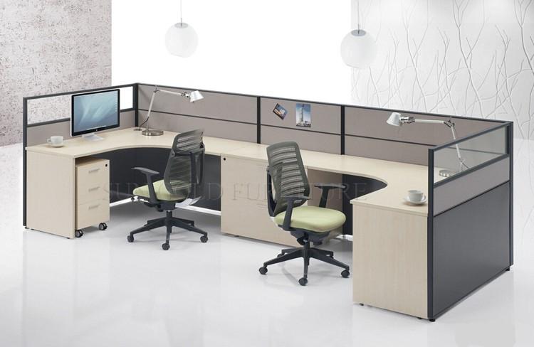 Modern office partition desk cubicle design for 2 people for Modern office partition design