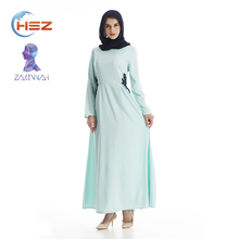 Zakiyyah 7004 Latest Design Pure Color Muslim Dress with Lace Good Quality Islamic Egyptian Abaya Clothing for Ladies
