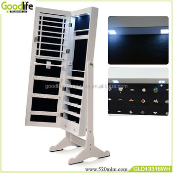 Wooden Cabinet With Led Lights Dressing Mirror Jewelry Storage Made In China