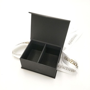 mini matte black gift boxes with magnetic lid and ribbon design