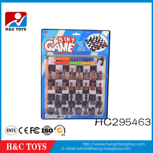 Cheap plastic toy chess pieces 5 in 1 chess game set HC295463