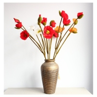 Vogue home decoration artificial flower 3 head shell simulation poppy flower