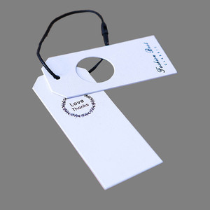 fancy hang tag rope paper hand tag for garment white tag printing