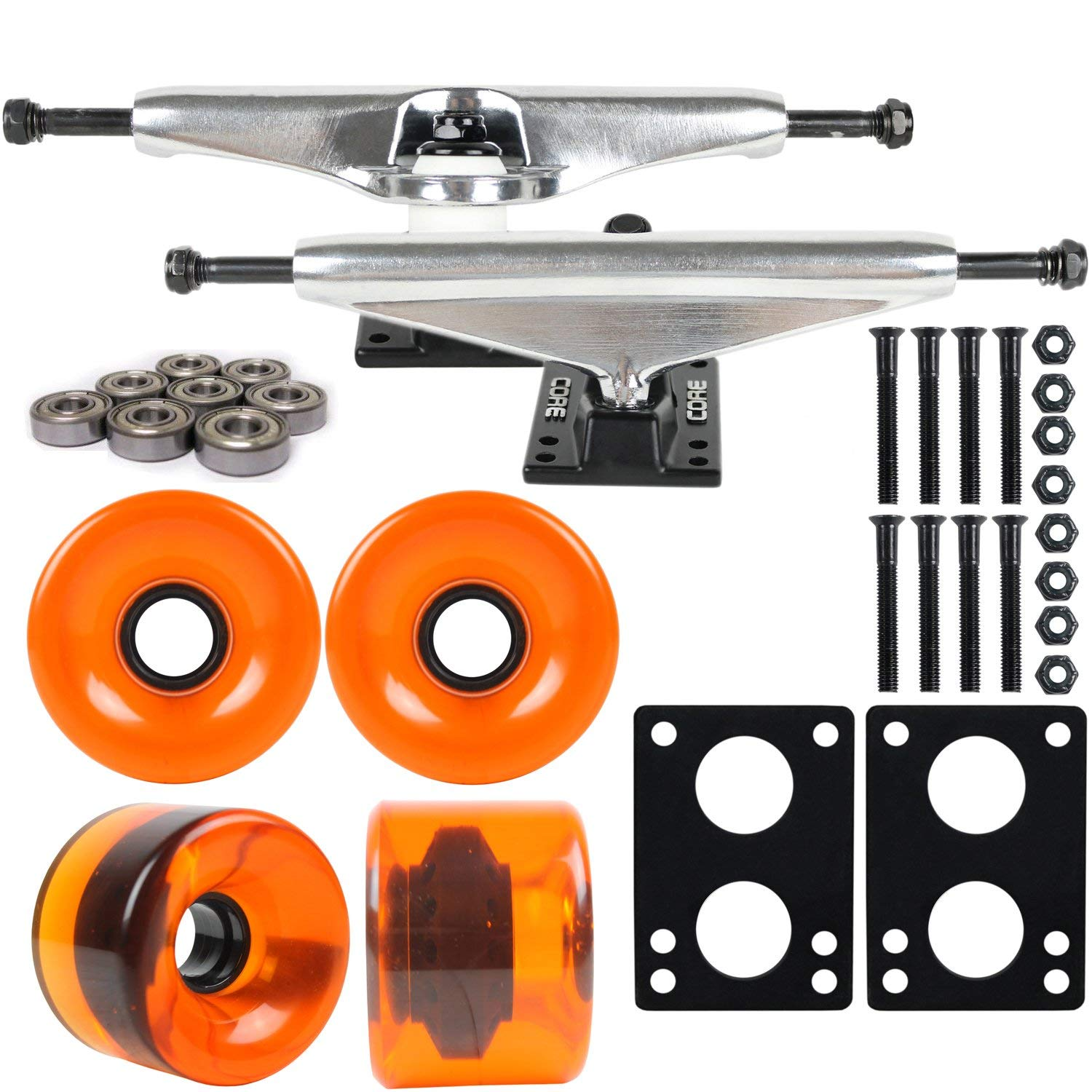 "Longboard Skateboard Trucks Combo Set 76mm Blank Wheels with Silver Trucks, Bearings, and Hardware Package (76mm Translucent Orange Wheels, 7.0 (9.63"") Silver Trucks)"