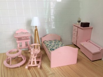 1 12 Dollhouse Miniature Bedroom Toy Furniture Pink Rocking Chair Nursery Set Qw80004