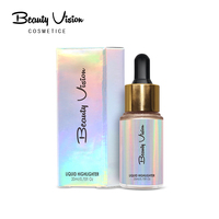 Hot selling cosmetic no logo face shimmer contour long lasting private label liquid highlighter makeup