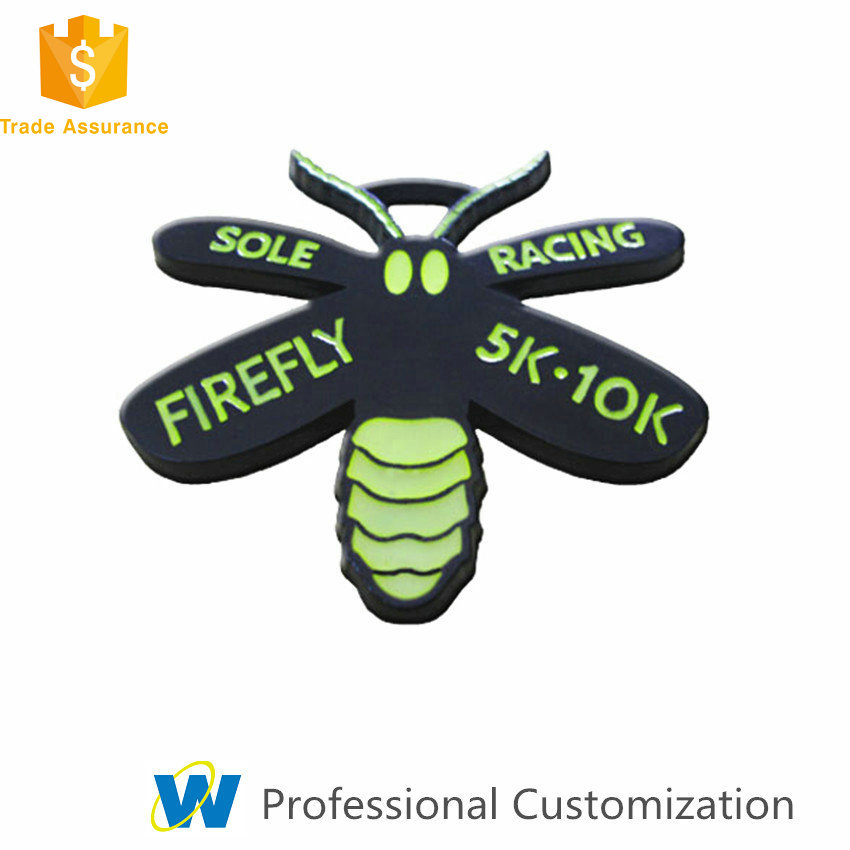 Creative Glow in the Dark Black Night 5k Running Racing Metal Insect Firefly Medals