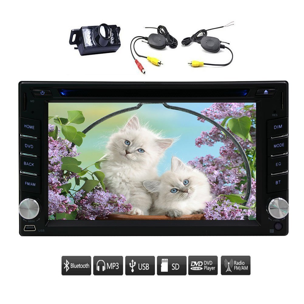 Upgrade Version with Wireless Camera! EinCar 6.2 inch Double 2 Din Car DVD CD Video Player Bluetooth no GPS Headunit with Digital Touch Screen Car Stereo Radio Car PC 800MHz CPU!!!