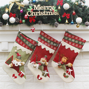 2018 Fashion Red Xmas Hat Hot Snowflake Lace Christmas Stockings High Quality Christmas Man Gifts For Decoration Home