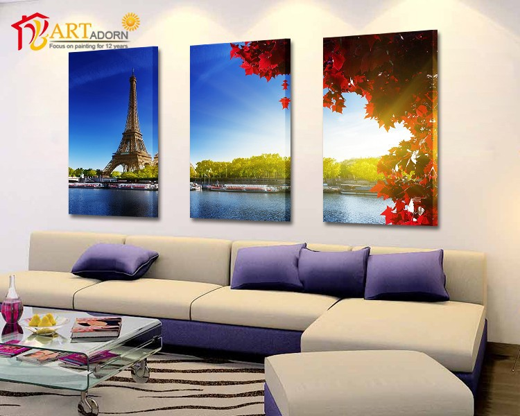 Three-dimensional sunny eiffel oil painting for living room