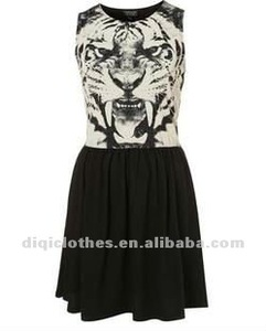 Fashion Women Stylish Dresses King of Tiger Head Grain Printing Sleeveless Cotton Dress