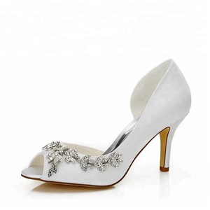 Pretty girl fancy high crystal wedding shoes Peep Toe Ivory Satin Bridal Wedding Shoes