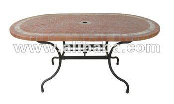 Tavoli Da Giardino In Ferro Battuto E Mosaico.Ferro Battuto E Mosaico In Ceramica Ovale Tavolo Da Pranzo Con Base