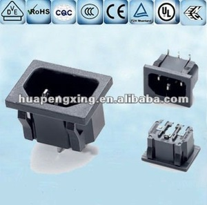 Grounded IEC input receptacle Socket