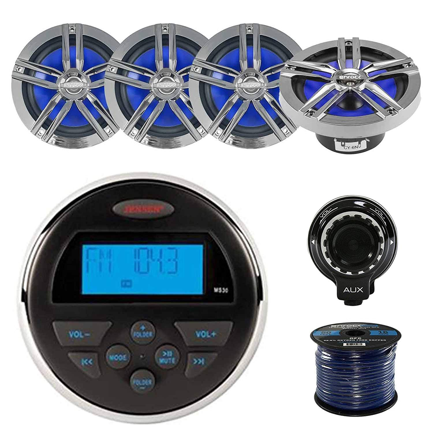 """JENSEN MS30 AM/FM/USB WP Marine Boat Stereo With Enrock Marine 2-Way 180W 6.5"""" Charcoal Speakers (2-Pairs), Enrock Marine Grade 50ft 16-G SPKR Wire & Hifonics Wired BT Preamp Controller"""