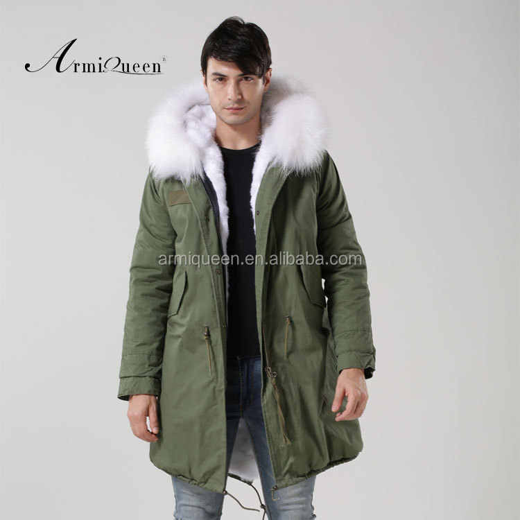 OEM Service Mens Military Style White Faux Fur Lining Parka, Winter Army Green Jacket Coat Factory Directly, Army green and white