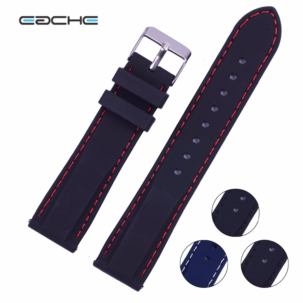 Custom Silicon Rubber Watch Band,18mm 20mm 22mm 24mm SIlver Buckle Watch Band(Orange Red Black Blue)