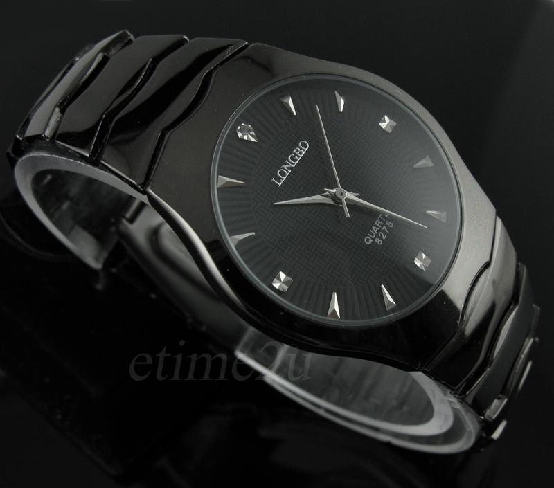 Черный легированная сталь аналог мужские кварцевые часы классические часы Relogios Masculinos