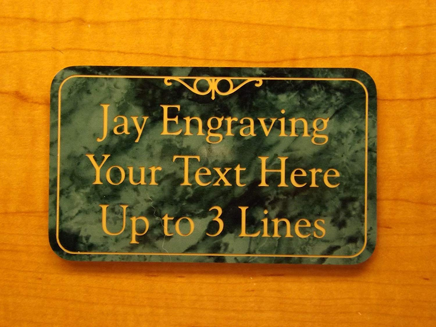 Custom engraved 3x5 marble green plastic office suite sign name plate wall or door