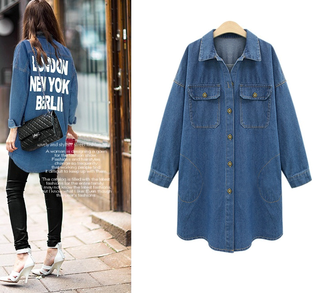 S62965A plus size women clothing Denim Shirts Women blouses Long Sleeve jean shirt fashion slim Blouse Ladies Tops