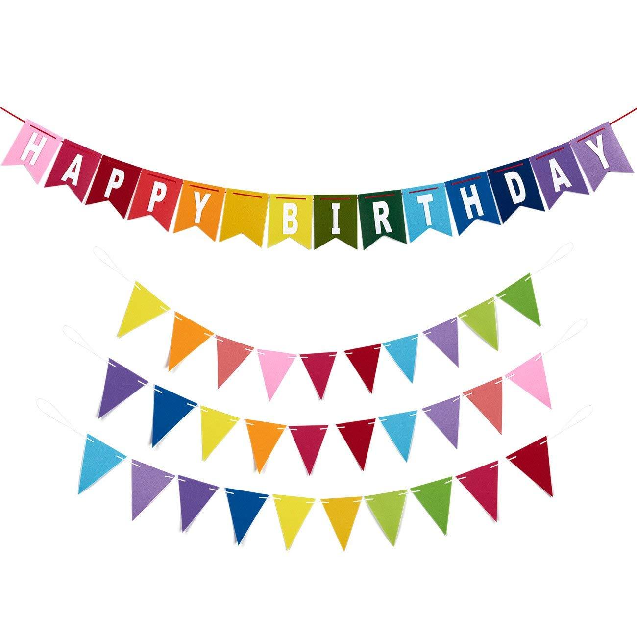 Blue Panda Happy Birthday Banners - 4-Piece Set - Includes 1 Felt Birthday Banner 3 Felt Pennant Banners - Suitable Boys, Girls, Adults - Rainbow Birthday Decoration